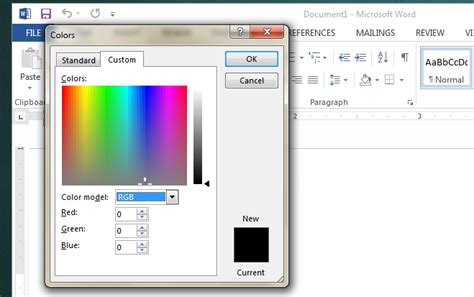 how to color use rgb values to set a custom color for text in ms office