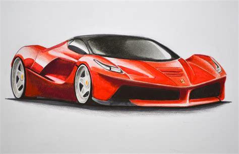 Dibujando carros: cómo dibujar un Ferrari con colores