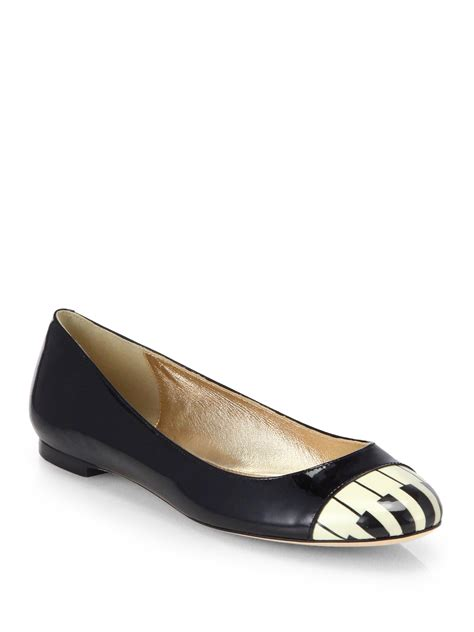 patent leather ballet flats kate spade jazz piano patent leather ballet flats in black lyst