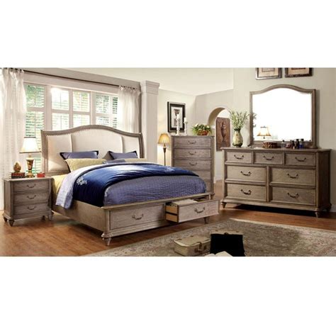 weathered oak bedroom furniture norco transitional style rustic weathered oak finish 6