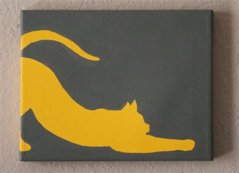 simple cat painting ideas catty feline silhouette paintings tutorial a