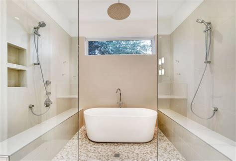 Backsplash Ideas For Small Kitchens modern master bathroom with rain shower head by classic