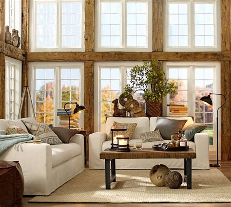 rustic home decorating ideas living room pottery barn