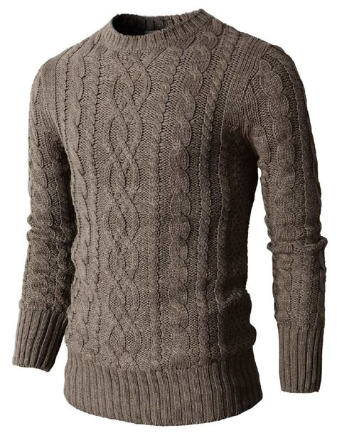 mens cable knit sweaters mens casual knit crewneck pullover sweater with twisted