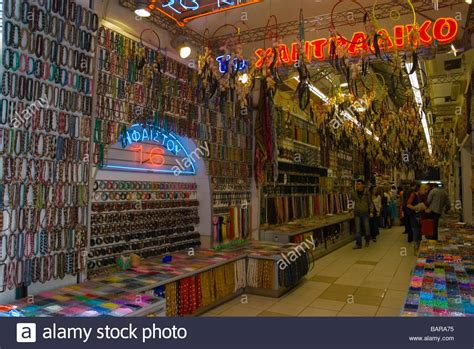 bead stores in bead shop in plaka district of athens greece europe stock