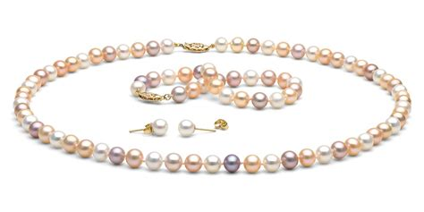 freshwater pearls for jewelry multi color freshwater pearl jewelry set 7 5 8 0mm
