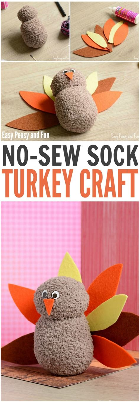 no sew crafts for no sew sock turkey craft easy peasy and