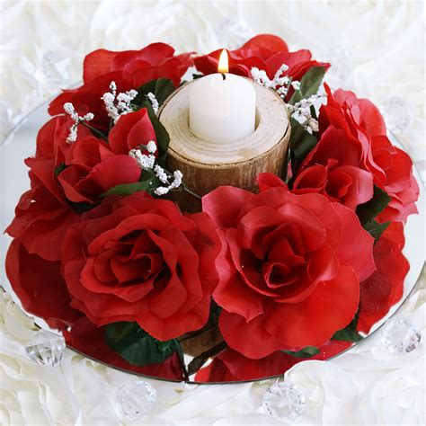 silk centerpieces 8 pcs silk roses flowers candle rings wedding tabletop
