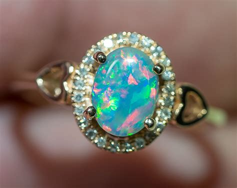 Opel Rings by Solid Gem Semi Black Opal 14k Solid Gold Engagement