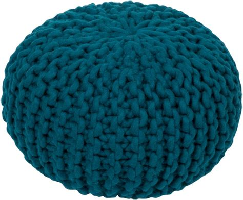 teal knitted pouf fargo wool pouf in teal color burke decor