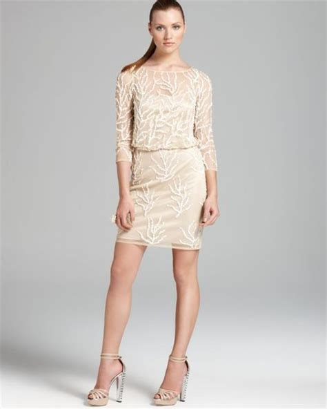 aidan mattox beaded blouson dress aidan mattox blouson dress beaded coral reef in beige