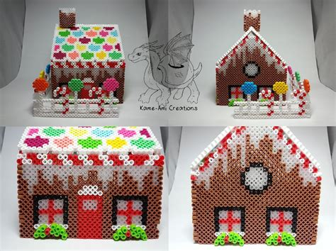 hama house design 3d gingerbread house perler by kame ami on
