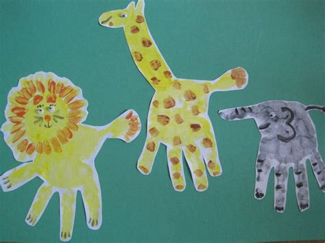 zoo animal crafts for zoo animals giraffe elephant toddler handprint