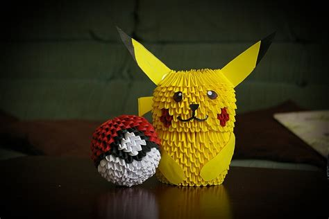 how to make a 3d origami pikachu 3d origami pikachu and pokeball by pyrodragoness on deviantart