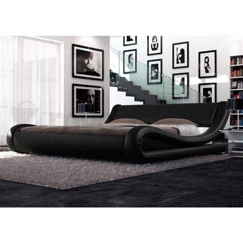 pu bed frame leonardo pu leather curved bed frame in black buy