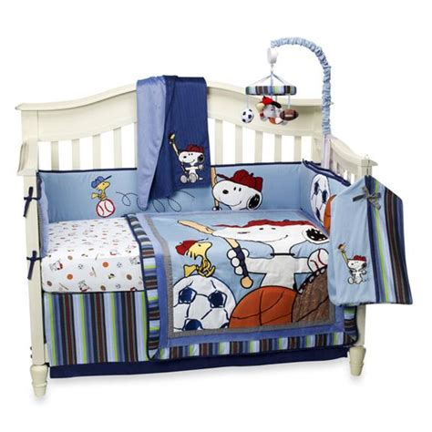lambs and sports crib bedding lambs 174 team snoopy 4 crib set and accessories