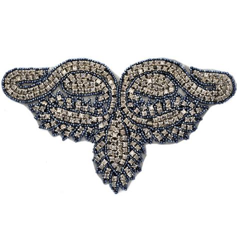beaded appliques rhinestone beaded applique beaded patch tr 10224
