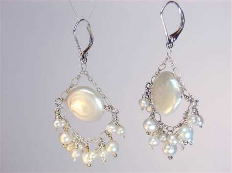 chandelier pearl earrings for wedding portia pearl bridal chandelier earrings coin pearl