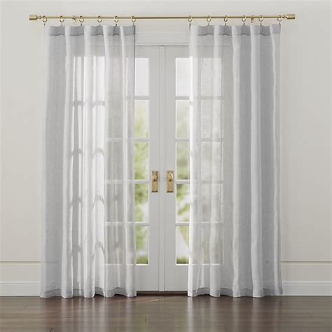 sheer curtains with lights linen light grey sheer curtains crate and barrel