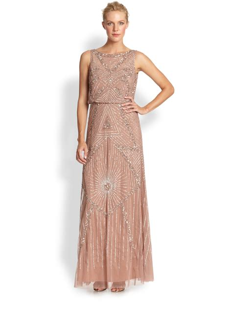 Aidan Mattox Beaded Gown In Pink Lyst