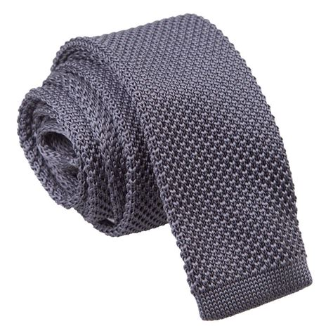 mens knit tie s knitted charcoal tie