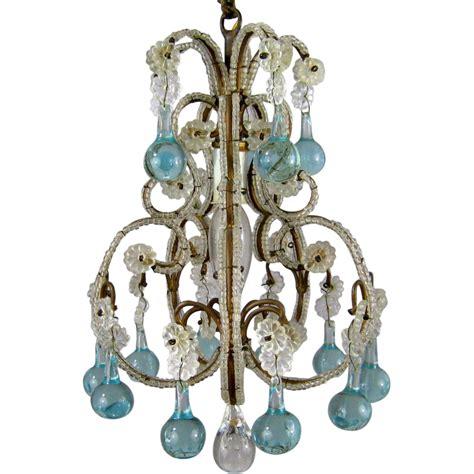 blue beaded chandelier vintage beaded birdcage chandelier aqua blue prisms