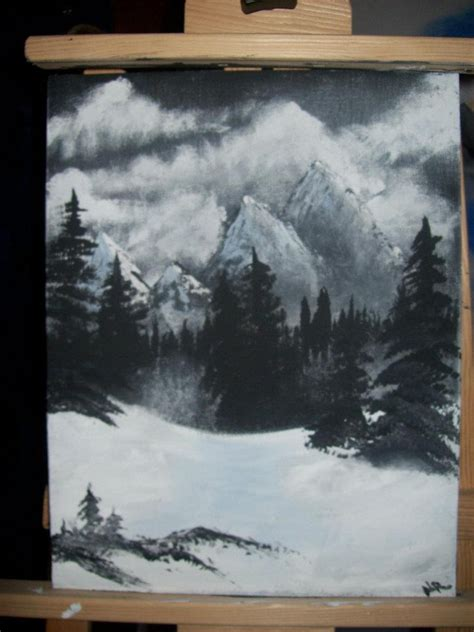 bob ross painting black and white painted this from a bob ross bob ross
