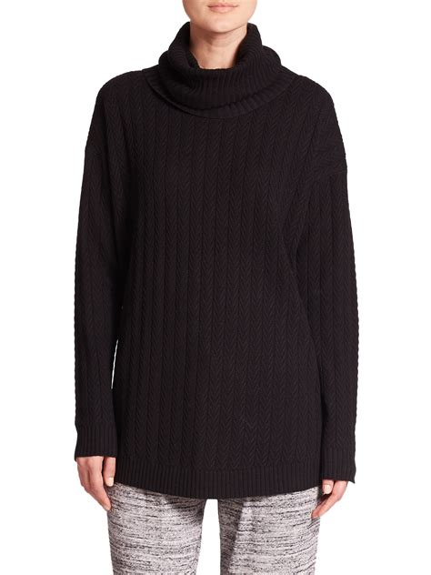 cable knit tunic three dots cable knit silk tunic sweater in black