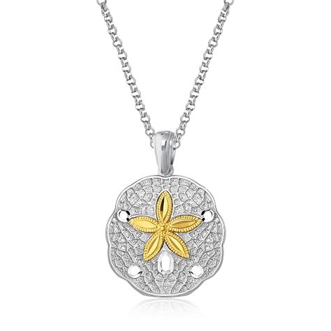 dollar jewelry sand dollar pendant in sterling silver and 14k yellow gold