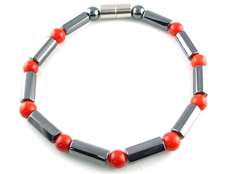 magnetic hematite hematite magnetic therapy necklace coral polygons