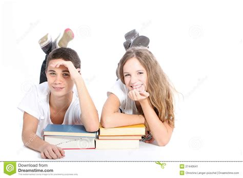 picture books for high school students smiling high school students with school books stock image