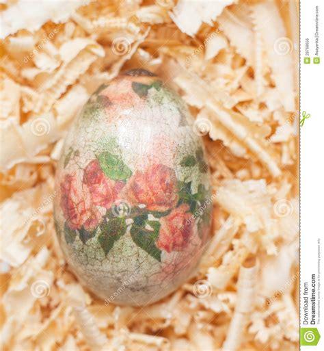 decoupage method easter egg made decoupage methods royalty free stock image