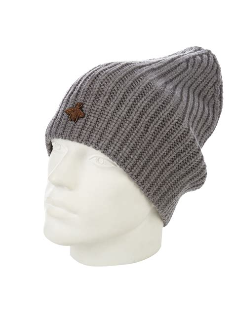 Gucci Ribbed Knit Hat In Gray For Lyst