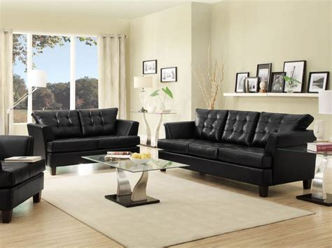 living room with black leather sofa iris modern black faux leather sofa loveseat set