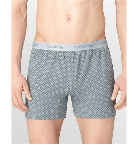 calvin klein knit boxers calvin klein optic grid knit slim fit boxers in gray for