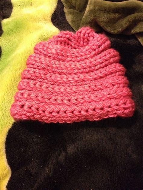 finger knit beanie finger knitted hat finger knitting
