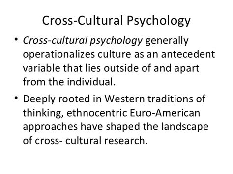 culture and psychology intoduction to cross cultural psychology and intercultural