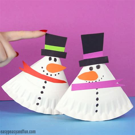 snowman paper crafts rocking paper plate snowman easy peasy and