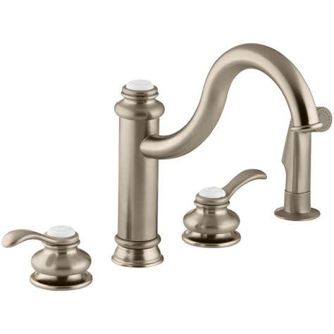 brushed bronze kitchen faucets kohler fairfax 2 handle standard kitchen faucet with side sprayer in vibrant brushed bronze k