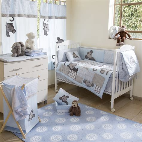 nursery bed set blue monkey crib bedding collection 4 pc crib bedding set