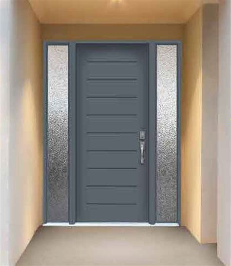 metal front doors for homes with glass modern exterior front doors with frosted glass sidelite
