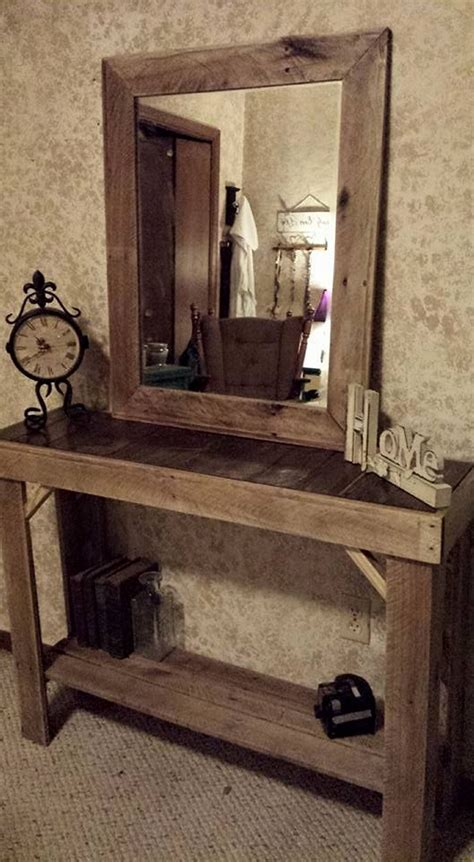 entryway table ideas reclaimed pallets wood entryway table with mirror pallet