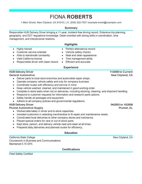 hub delivery driver resume examples transportation