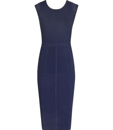 navy blue knitted dress reiss fluxy knit bodycon dress in blue navy cosmos lyst