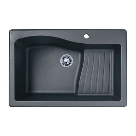 kitchen sinks lowes shop swan single basin drop in or undermount granite