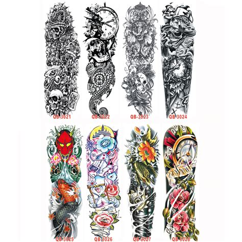 3pc temporary tattoo sleeve designs full arm waterproof