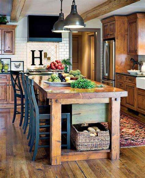 kitchen island farm table 32 simple rustic kitchen islands amazing diy interior home design
