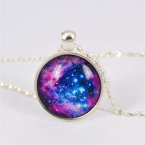 glass cabochons jewelry vintage purple way galaxy picture planet pendant