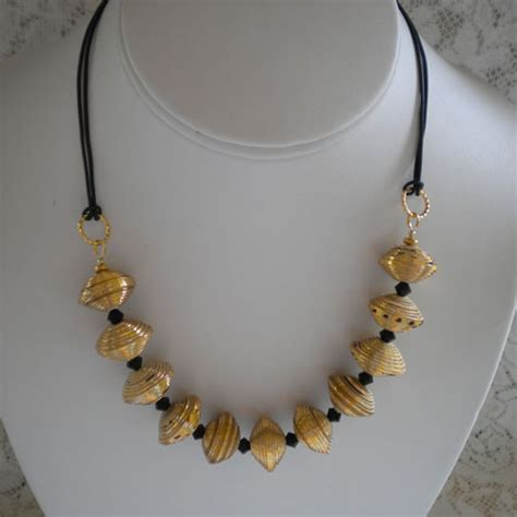 paper bead jewelry gold paper bead necklace paper and jewelry