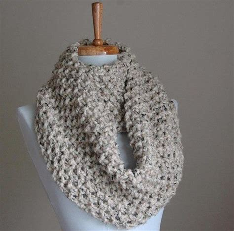 knitted infinity scarf pattern infinity scarf neutral gray marble or oatmeal knit chunky